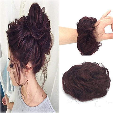 100% Human Hair Wave Curly Messy Scrunchie Wrap For Bun Ponytails Hair Extensions Chignon