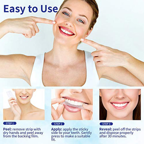 Teeth Whitening Strips, Express Whitening Strips for Sensitive Teeth, Teeth White Strips of 28, Mint Flavor, 14 Packs
