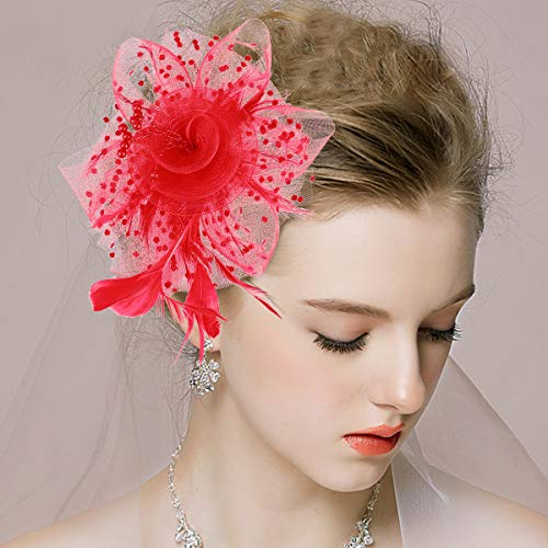 Frcolor Bride Flower Feather Hairpin Headdress Hair Accessories for Wedding Banquet (Red)