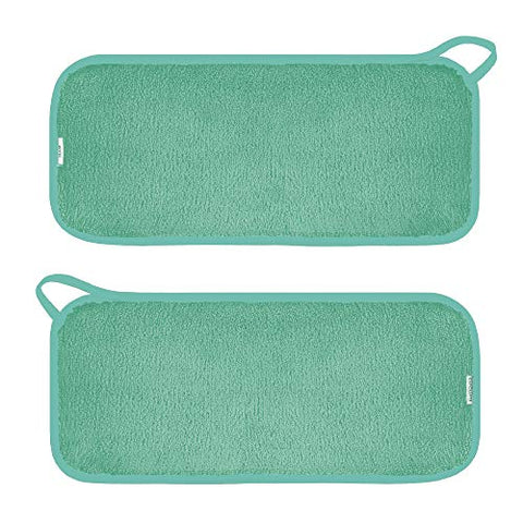 Makeup Remover Microfiber Face Cloths 2 pack, Reusable, 6 Hair Ties (2 Count, Seafoam)