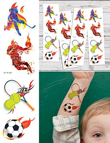 Supperb Temporary Tattoos - I Love Sports Hockey Basketball Tennis Soccer Tattoo Tattoos (Set of 4) Birthday Party Supplies Party Favors