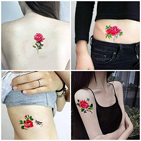 Kekemm Temporary Tattoos Tattoo Stickers Waterproof Female Simulation Rose Bianhua Cherry Cherry Sexy Chest Clavicle Stickers 44 Sheets