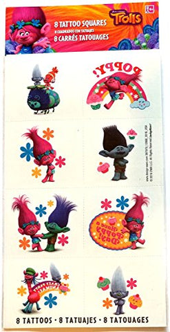 amscan Tattoo Favor, Trolls Collection, Party Accessory, Multicolor