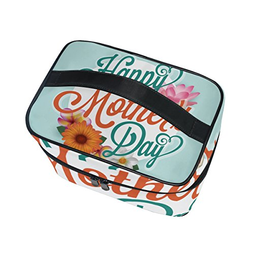 U LIFE Happy Mothers Mom Day Floral Flowers Best Travel Cosmetic Makeup Toiletry Storage Bags Boxes Cases Organizers