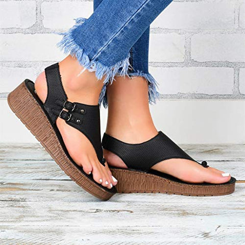 Xinantime Summer Women's Ladies Hipster Plus Size Wedges Flip Sandals Beach Casual Shoes (Black,42)