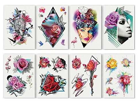 Abstract Temporary Tattoo?8 Sheets Abstract Large Temporary Tattoos for Women Men, Birdcage Lady Flower Style Body Art Stickers (5.9'' x 8.3'')