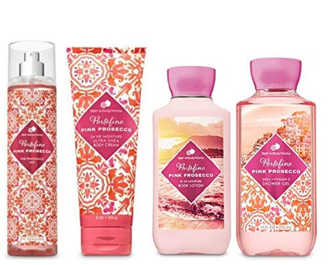 Bath and Body Works Portofino Pink Prosecco Deluxe Gift Set Body Lotion - Body Cream - Fragrance Mist and Shower Gel - Full Size