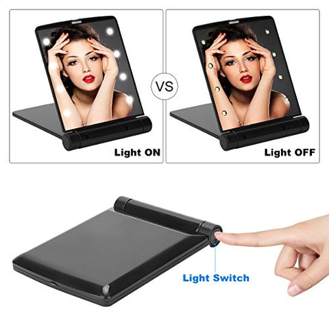 Yusong Lighted Travel Makeup Mirror   Handheld Mirror With 8 Dimmable Led Lights Compact Mirror Make