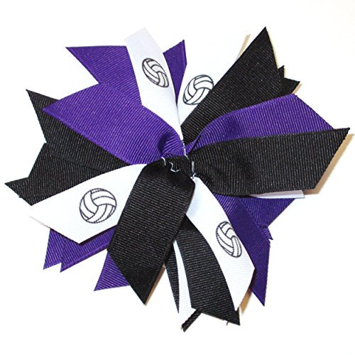 Sublimation Specialties Volleyball Pom Hair Bow Scrunchie   Made In The Usa, Avail In Many Colors, B