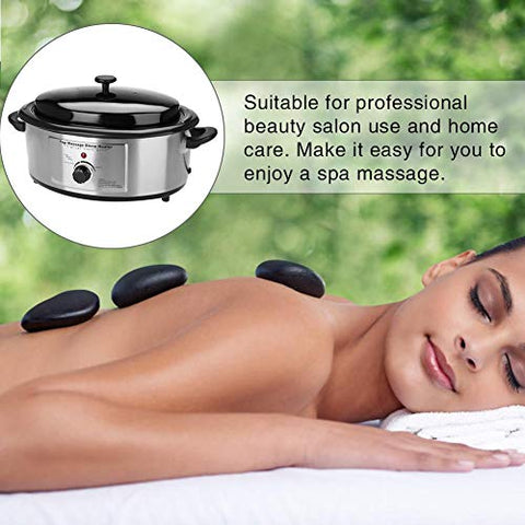 Hot Stone Heater, 6 Quart Massage Home Spa Salon Warmer Heating Device Volcanic Energy Stones Heater
