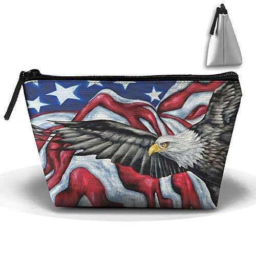 American Flag Eagle Multifunction Portable Mini Makeup Bag Cosmetic Bag For Home Office Travel Sport Gym Outdoor