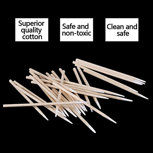 Cotton Swab Wood Handle Disposable Small Pointed Tip Head Tattoo Permanent Makeup Soft Swab Stick for Makeup Cosmetic Beauty 500pcs