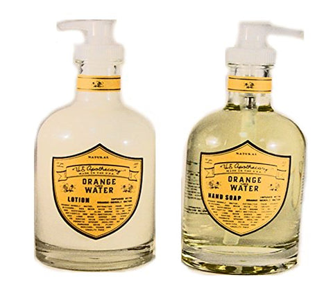 U.S. Apothecary Orange Flower Water Natural Hand Lotion & Natural Liquid Hand Soap Set by k hall