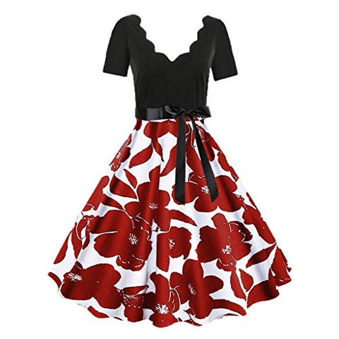 KASAAS Floral Print Vintage Dress for Women Short Sleeve V-Neck Tie-Bow Retro Flare A-Line Dresses(Medium,Red)