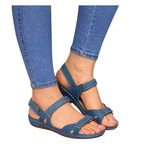 Sandals for Women Platform,Premium Orthopedic Open Toe Sandals for Women Comfy Sandals Casual Summer Hook and Loop Sandals Blue