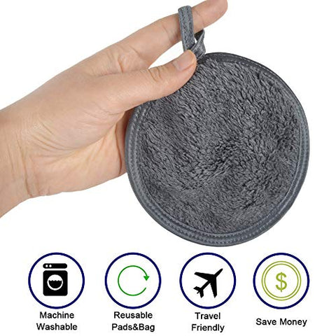 Sinland Reusable Makeup Remover Cloth for Face Eye and Lip Makeup Remover Pads Soft Facial and Skin Care Wash Cloth Puff 6 Pack Round 4.7Inch c (6pack, dark grey)