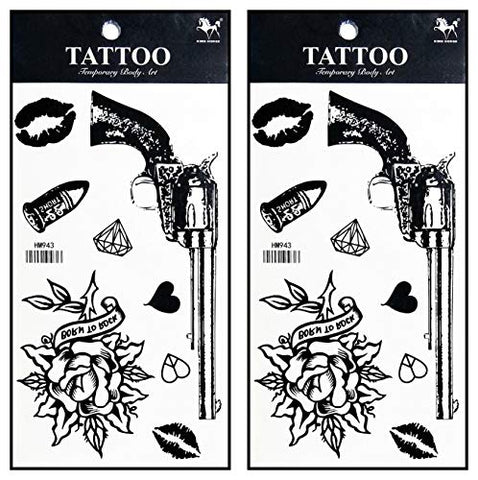 Tattoos 2 Sheets Fantasy Gun Gunshot Rose Tattoos Body Art Up Makeup Temporary Tattoos Sticker Fashion for Man Women Girls Lower Back Shoulder Neck Arm