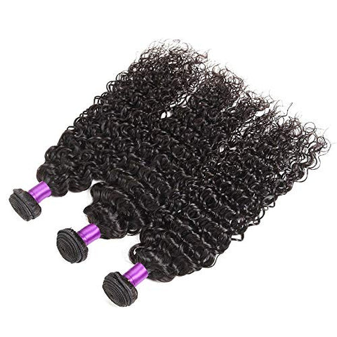 Hairpieces Fashian Human Hair Brazilian Hair Bundle 6A Brazilian Jeery Curly Hair Weave Bundles Extension Full Head 100g / Pcs for Daily Use and Party (Color : Black, Size : 18 inch)