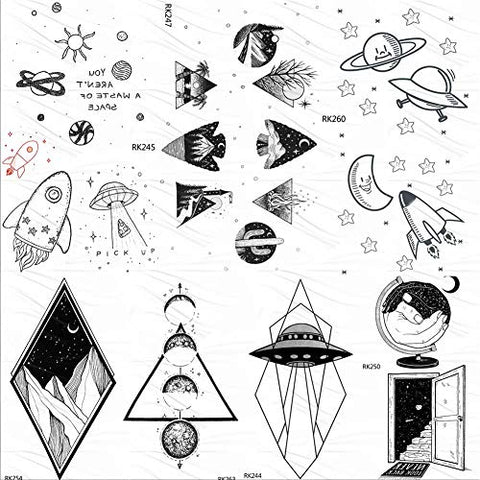 Universe Galaxy Black Temporary Tattoos For Kids Sticker Fake Tattoo Spaceship Tatoos For Children 10X6Cm 7Pc