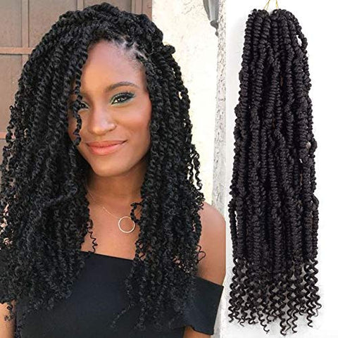 Bomb Twist Crochet Hair 6 Packs Passion Twist Crochet Hair Braiding Hair for Women Kinky Curly Virtue Twists Pre-looped Crochet Hair Extensions 14inch 24 strands/pack (1B)