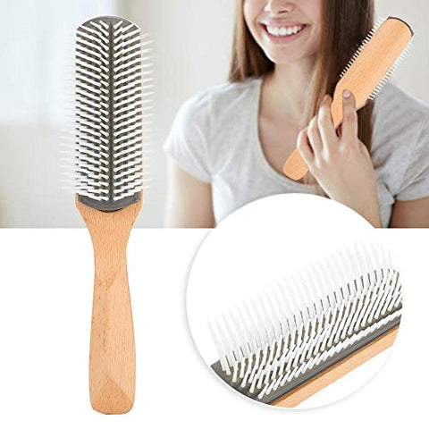 April Gift Wood + Nylon Hair Brush Non-slip Handle Comb Care for Scalp