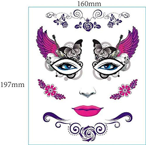 Miwaimao 10Pcs Halloween Makeup Sticker Special Waterproof Face Tattoo Day of The Dead Skull Face Dress up Halloween Temporary Tattoo Stickers,b,A
