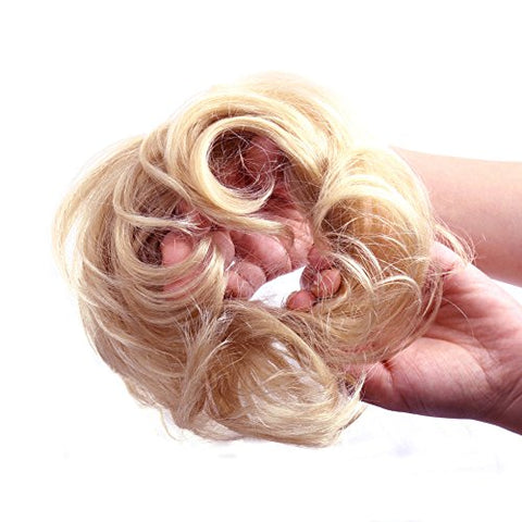 Bella Hair 100% Human Scrunchie Bun Up Do Hair Pieces Wavy Curly Or Messy Ponytail Extension (#60 Pl