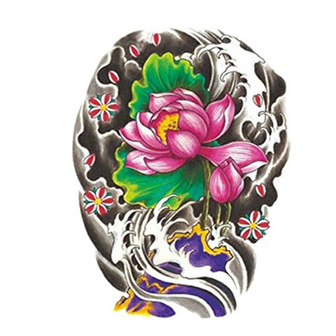 [Beautiful Lotus] Coloured Body Tattoo Sticker Waterproof Fake Tattoo(8.66'')