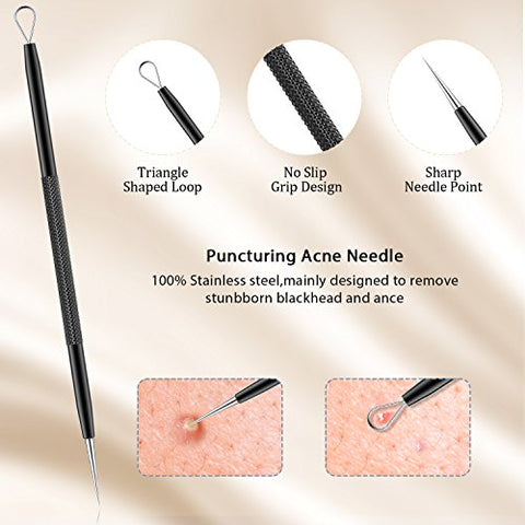 BESTOPE Blackhead Remover Pimple Comedone Extractor Tool Best Acne Removal Kit - Treatment for Blemish, Whitehead Popping, Zit Removing for Risk Free Nose Face Skin with Metal Case (Black)