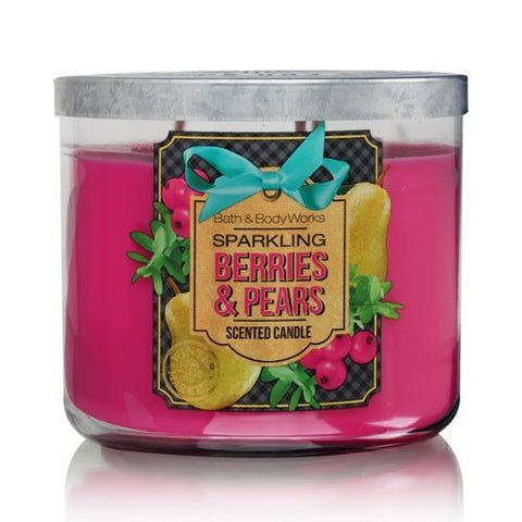Bath Body Works Sparkling Berries & Pears 3-Wick Scented Candle
