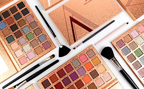 AFU High Pigmented Eyeshadow Palette Matte + Shimmer 28 Colors Makeup Natural Bronze Nudes Neutral Smokey Blendable Waterproof Eye Shadows Cosmetic - C-12
