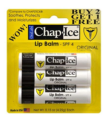Chap-Ice SPF 4 Premium Lip Balm, Original, Two 3 Packs