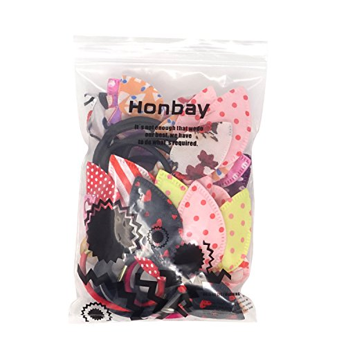 Honbay 20PCS Random Colors and Patterns Cute Rabbit Ear Hair Tie Elastic Ponytail Holder