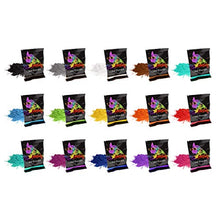 Holi Powder by Chameleon Colors - 15 Colors 70g - Packets for Color Races, 5k, Festivals. Red, Yellow, Blue, Green, Orange, Purple, Pink, Navy, Magenta, Aquamarine, Teal, Black, Brown, Grey, White.