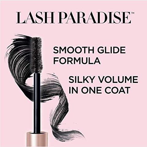 L'Oreal Paris Voluminous Makeup Lash Paradise Mascara, Voluptuous Volume, Intense Length, Feathery Soft Full Lashes, No Flaking, No Smudging, No Clumping, Black Brown, 2 Count