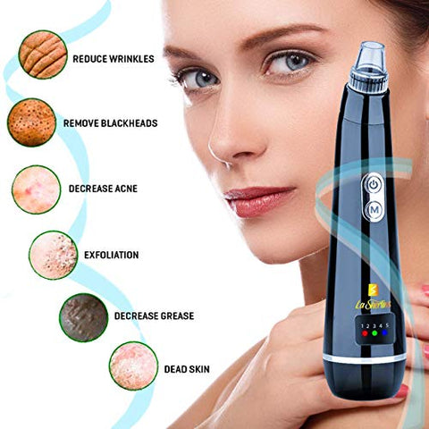 Blackhead remover pore vacuum-La Sherlins new version Blackhead suction device for Whitehead, Facial cleaning with USB rechargeable, display & 5 strong suction probes.(White & Black) Black.