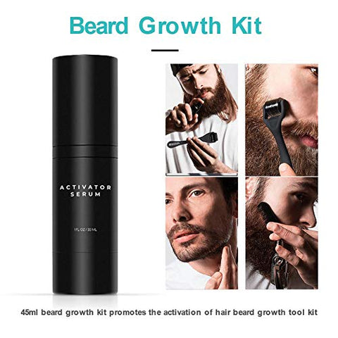 Beard Growth Kit For Men Beard Growth Activator Serum - Premium Natural Lathering Wet Shave Soap - Include Beard Roller Sanitizer And Comb Best Gift Best For Beard Rapid Growth And Thickening