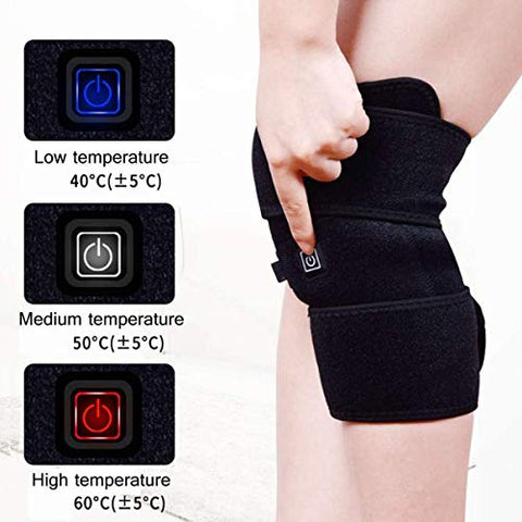2pcs Black Electric Heating Knee Wrap Support Arthritis Heated Brace Thermal Therapy Knee Brace Wrap for Pain Relief