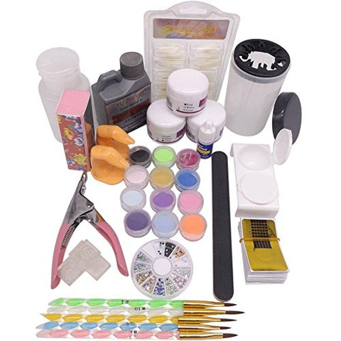 Warm Girl Pro Acrylic Liquid Powder Half French Nail Art Tips Pump File Clipper Tools Kit