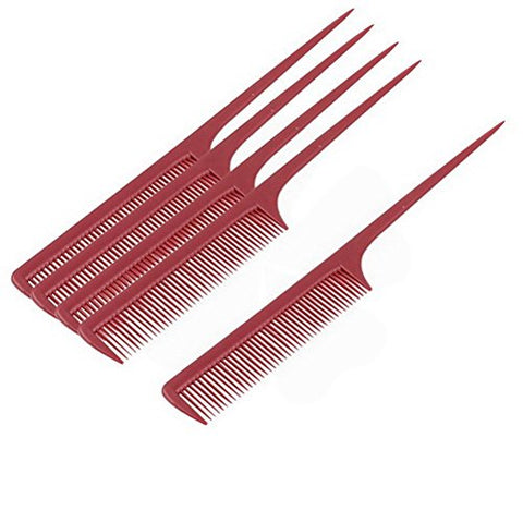 Plastic Hairdressing Barbers Hair Styling Toothed Rat Tail Combs 5pcs by Uptell