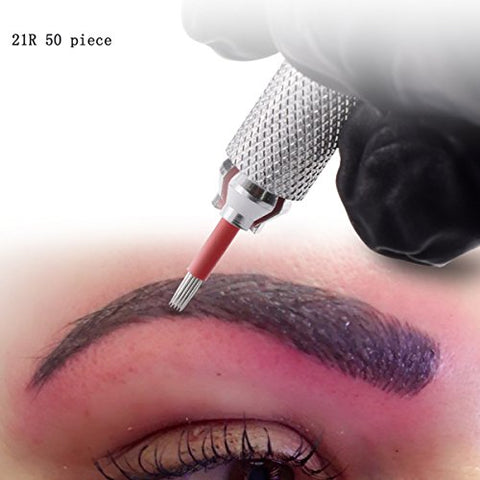 Microblading Needles 21R 50pcs Professional Microblading Needles Manual Lip Permanent Eyebrow Tattoo Makeup
