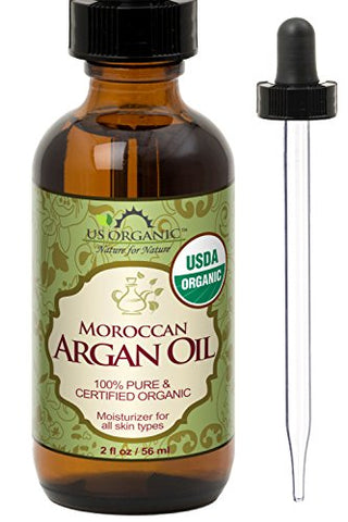 US Organic Moroccan Argan Oil, USDA Certified Organic,100% Pure & Natural, Cold Pressed Virgin, Unrefined, 2 Oz in Amber Glass Bottle with Glass Eye Dropper for Easy Application. Origin_Morocco