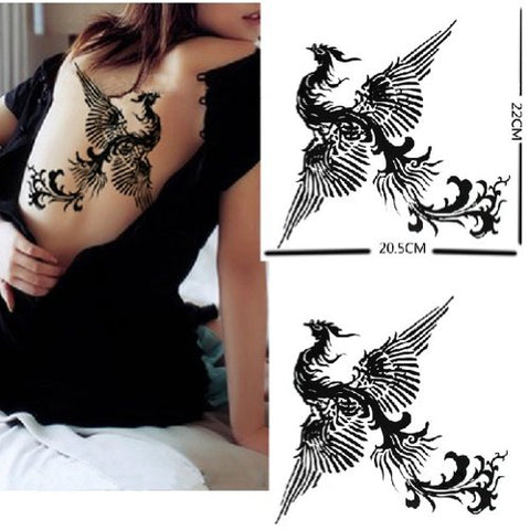 Fashion Black Phoenix Totem Body Tattoo Stickers Waterproof Cover up Tattoo