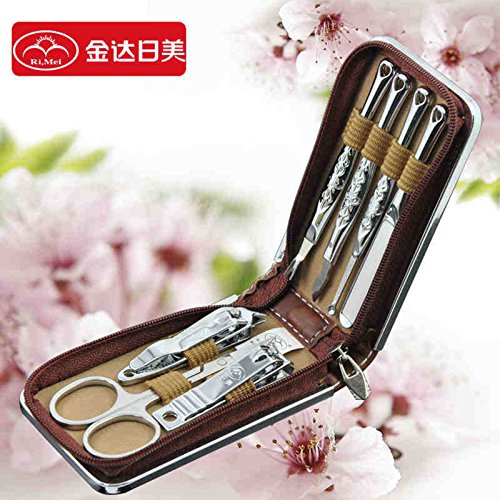 JIAHAO 7 Pieces Nail care Personal Manicure & Pedicure Set, Travel & Grooming Kit Tools RM70044