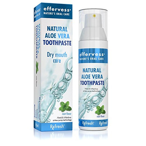 Effervess Rx Refresh Natural Aloe Vera Fluoride Free Toothpaste - Dry Mouth Care - Naturally Soothing & Moisturizing - Freshens Breath & Fights Cavities