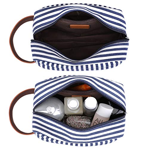 SAMSHOWS Canvas PU Leather Toiletry Cosmetic Bag Portable Travel Organizer Makeup Dopp Kit