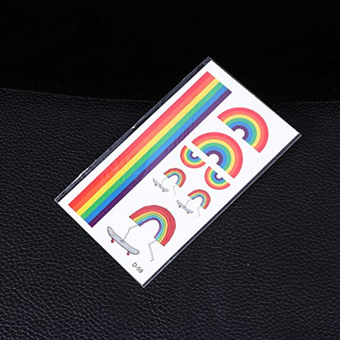 Healifty 10pcs Rainbow Temporary Tattoos Waterproof Body Stickers Party Favors for Boys Girls
