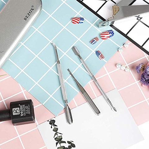 BEZOX Cuticle Pushers and Undernail Cleaner Tool Kit - Stainless Steel Dual Ended Nail Polish Pusher - Angled Cuticle Trimmer and Cuticle Fork - Pack of 3 W/Tin Storage Box