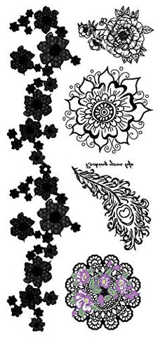 8 Sheets Henna Tattoo Stickers Lace Mehndi Temporary Tattoos for Maverick Sexy Women Teens Girls Metallic Tattooing Black Body Art Sticker.