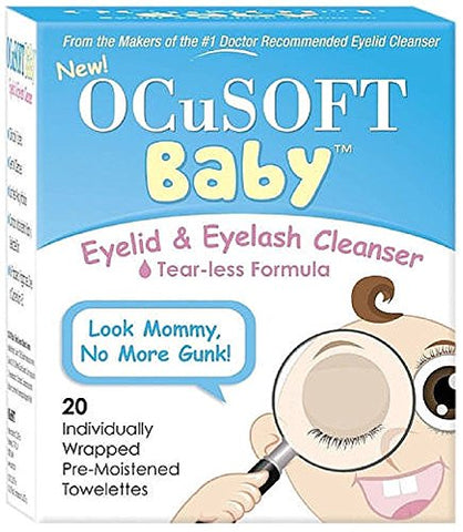 OCuSOFT Baby Eyelid & Eyelash Cleanser Towelettes 20 ea (Pack of 2)